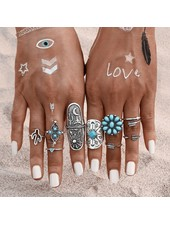 $18.00. 9 Piece Turquoise Boho Ring Set