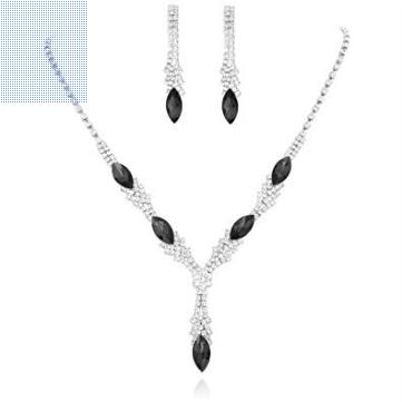 Statement Necklace Set - Black & CZ Stones