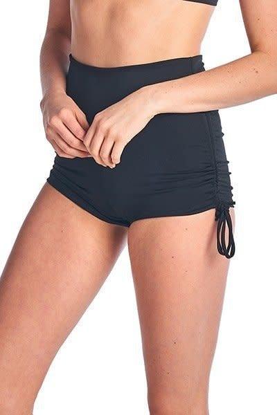 black pull string swim shorts