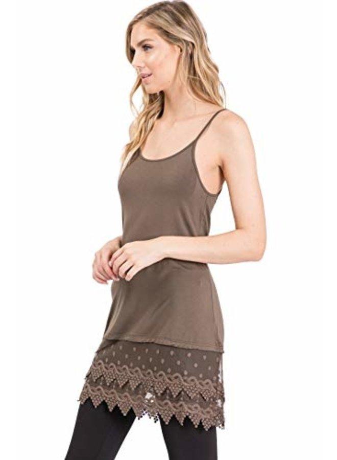 Dark Olive Lace Slip Dress