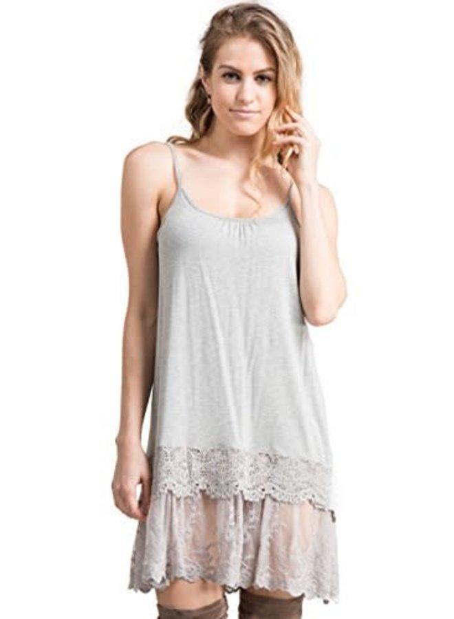 Grey Lace Slip Dress