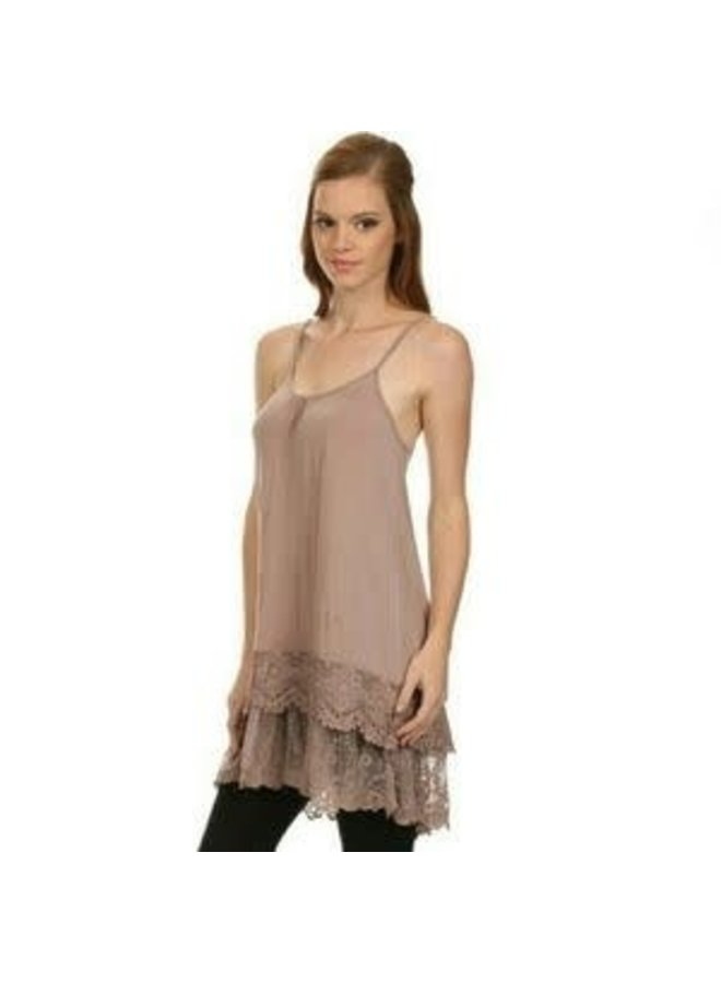 Coffee Lace Slip Dress