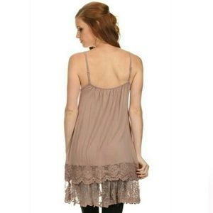 Coffee Lace Slip Dress