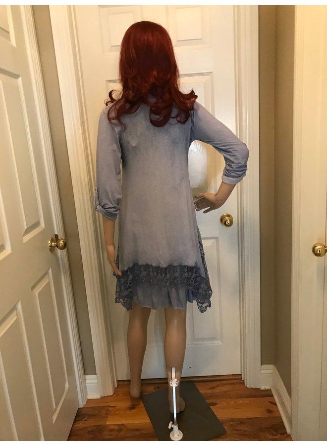 3-Piece Denim Lace Dress w/Scarf      One Size Fits Most