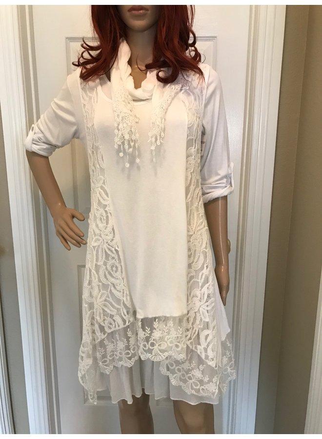 3-Piece White Lace Dress w/Scarf