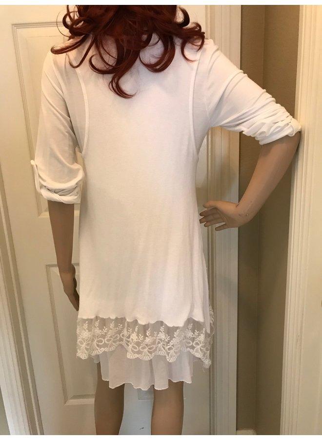 3-Piece White Lace Dress w/Scarf      One Size Fits Most