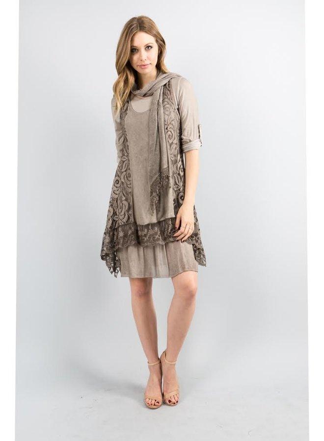 3-Piece Taupe Lace Dress w/Scarf