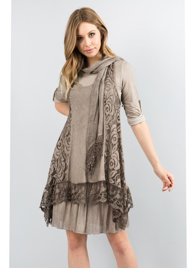3-Piece Taupe Lace Dress w/Scarf One Size Fits Most