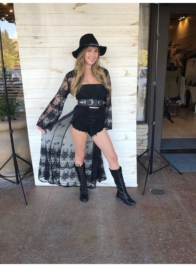 Sheer Black Lace Kimono Duster  Preorder