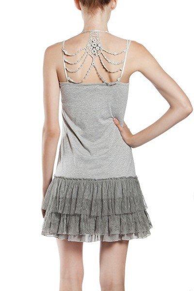 Grey Slip Dress with Back Detail