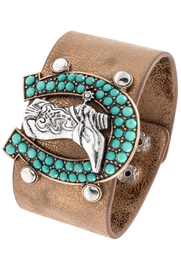 Horse Shoe Framed Cowboy Boot Bracelet