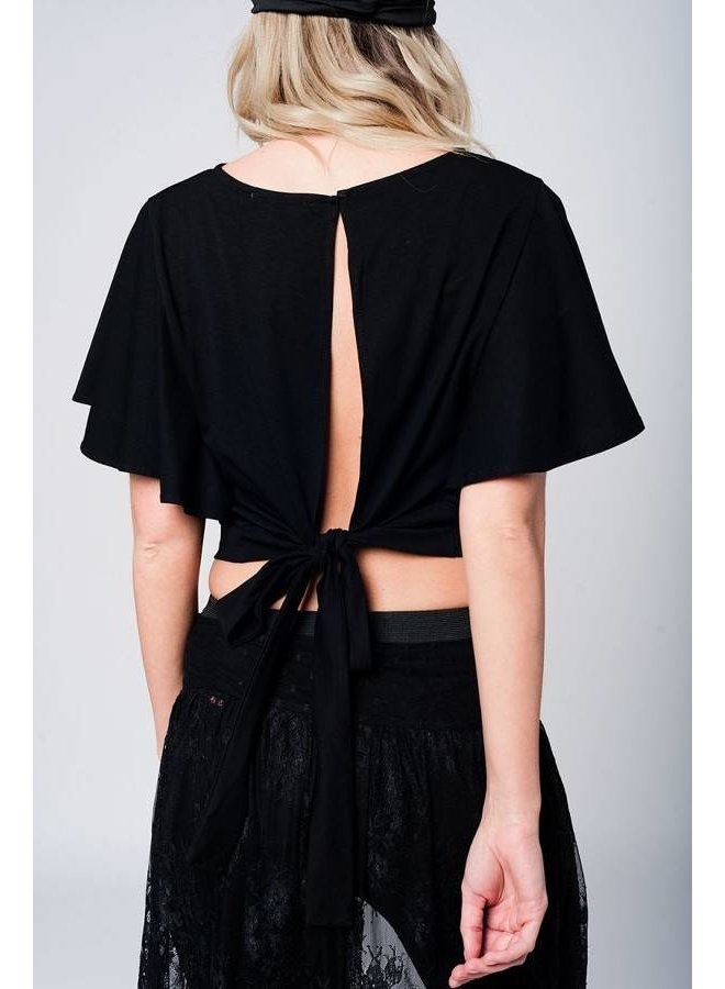Q2 Black Crop Top with an Open Back
