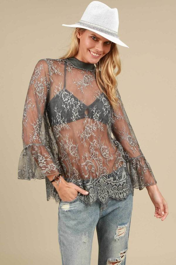 pol charcoal all over laced mockneck bell sleeved top with eyelash edge finish