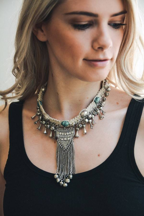 Silver/Turquoise Metal Braid Bell and Chain Choker Necklace