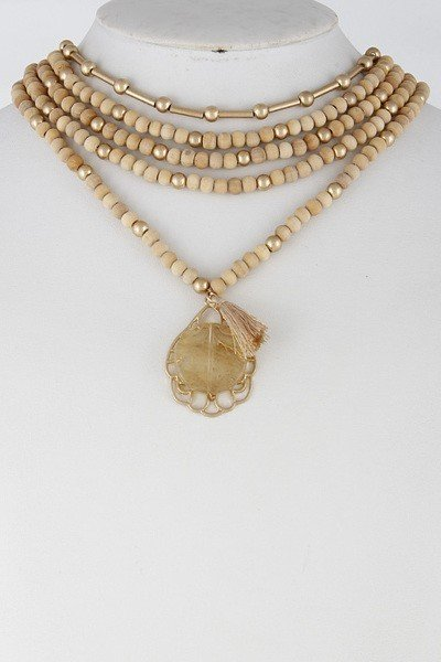 Ivory Multi Layer Beaded Necklace