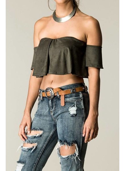 Olive Suede Ruffle Top