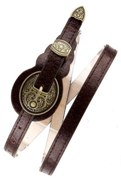 Brown Distressed Western Skinny Belt