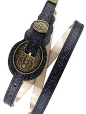 Navy Distressed Western Skinny Belt