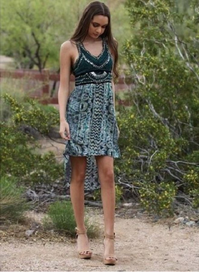 Green Embellished High low Dress