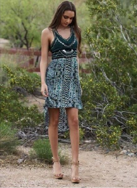 Green Embellished High low Dress