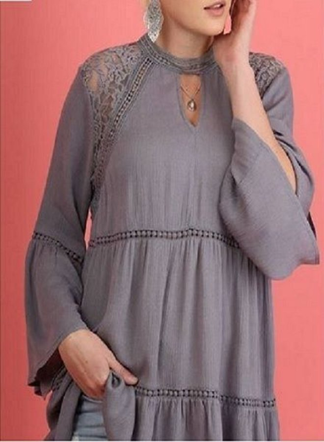Gray 3/4 Sleeve Blouse