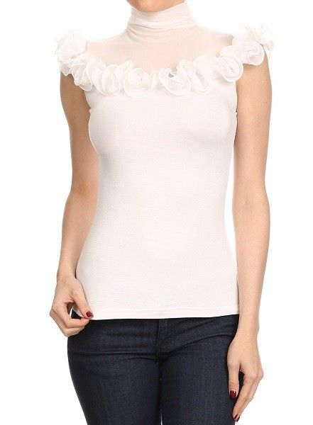 Short Sleeve Ruffle T-Neck Top