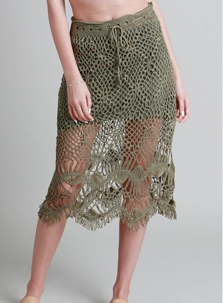 Olive Open Crochet Knit W/Drawstring Skirt