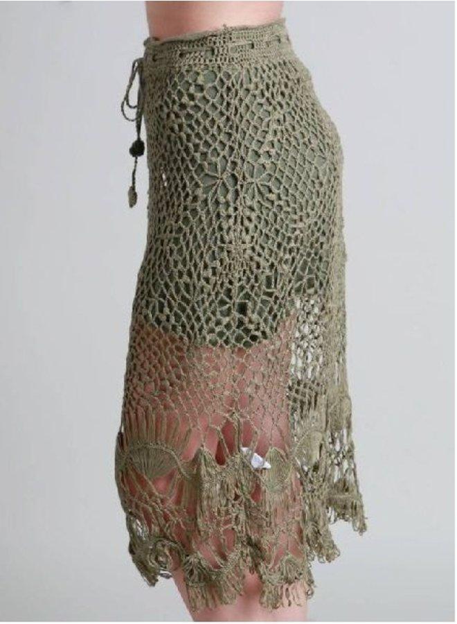 Olive Open Crochet Knit W/Drawstring Skirt