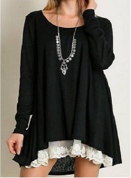 Long Sleeve Knit Top with Lace Detail