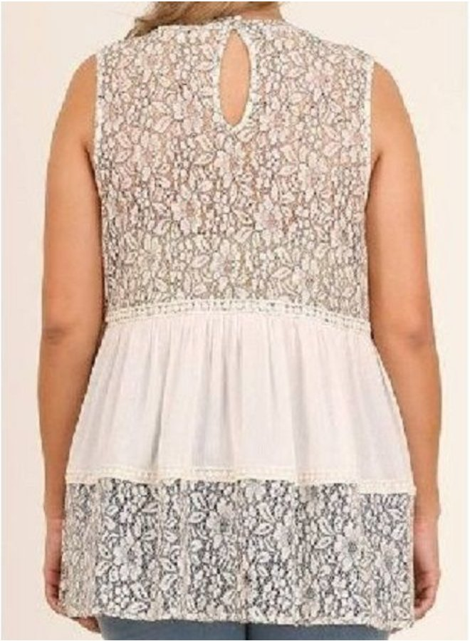 Sleeveless Lace Top with High Low Hem