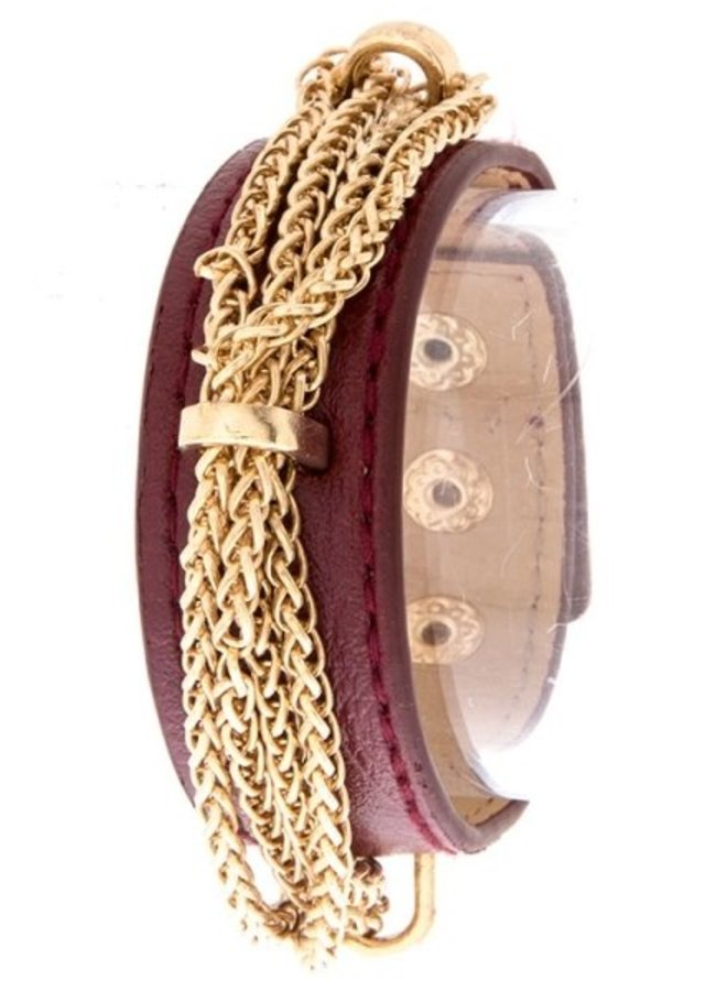 Chain Tied Leather Bracelet