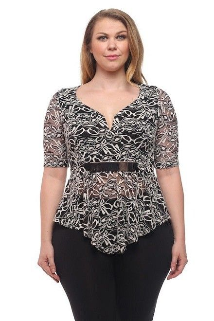Two-Tone Lace Top