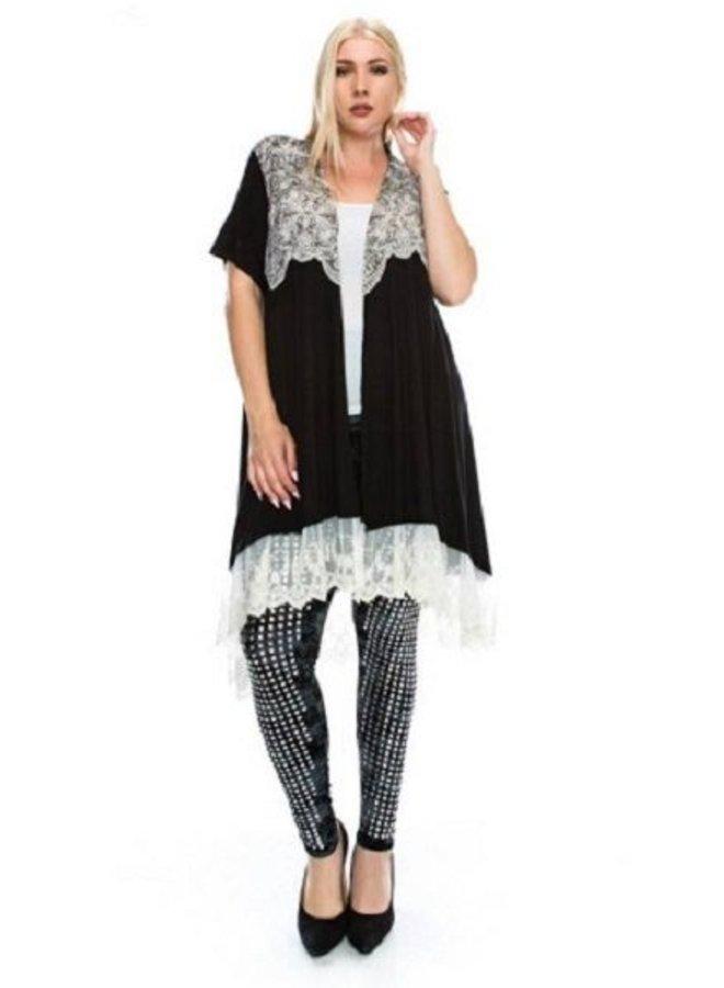 Black Fancy Cardigan - White Lace Trim
