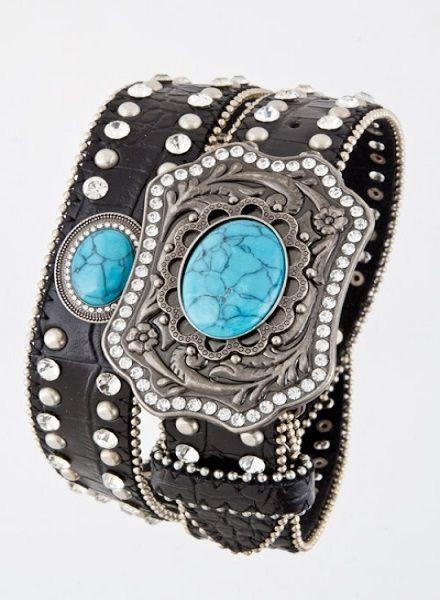 Blue Oval Stone Buckle Belt