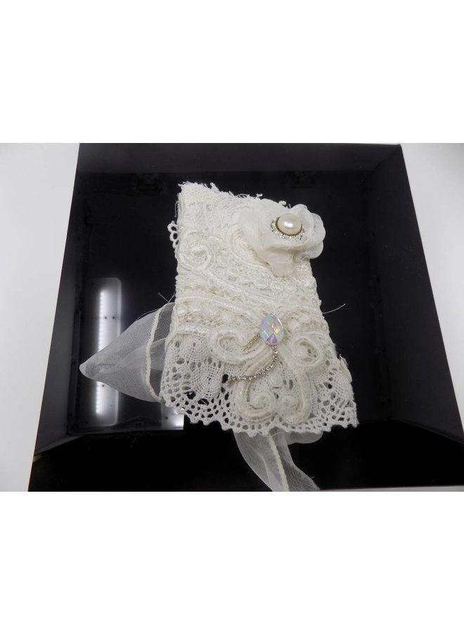 White Fabric Cuff  Bracelet - Pearl and Rhinestone
