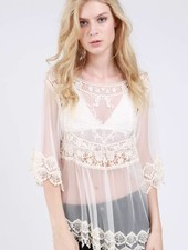 Natural Sheer 3/4 Sleeve Babydoll Top
