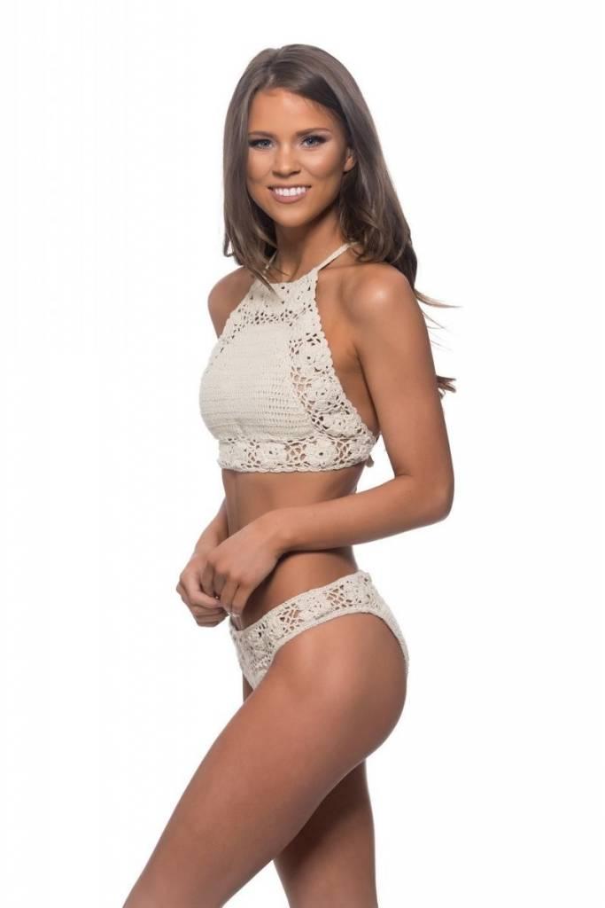 Crochet High Neck Bikini-Nude