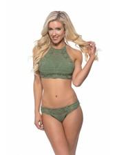 Crochet High Neck Bikini-Olive