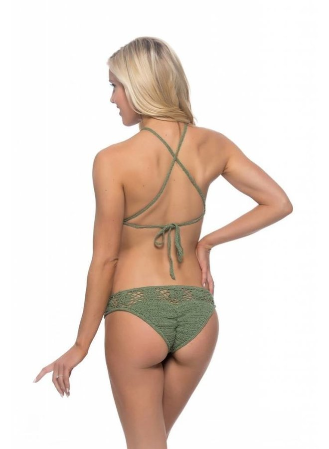 Crochet High Neck Bikini-Olive