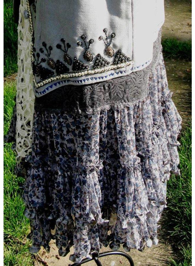 Grey Velvet Hand-Beaded Gypsy Vest