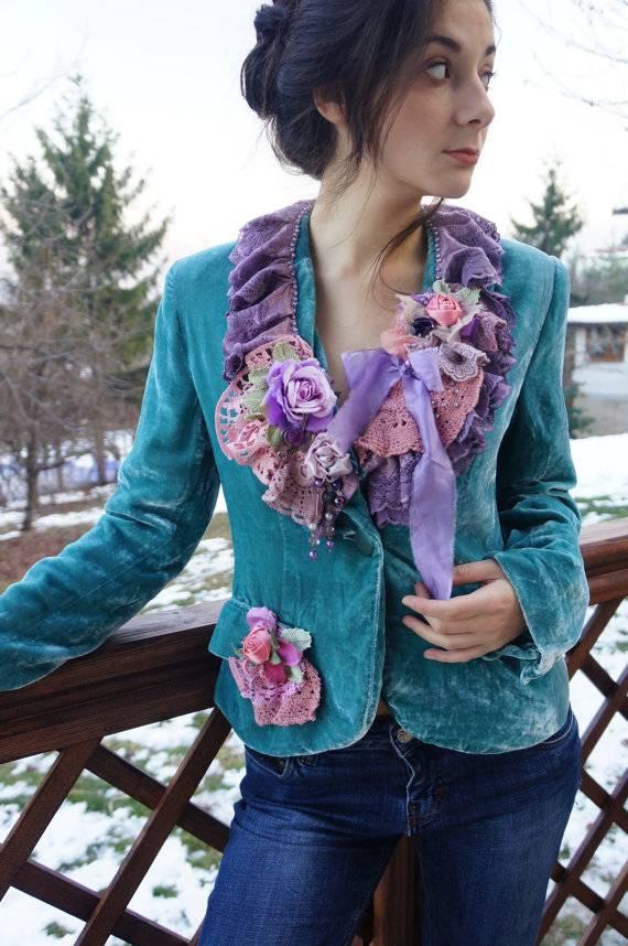 Hippy Gypsy Turquoise Velvet  Jacket