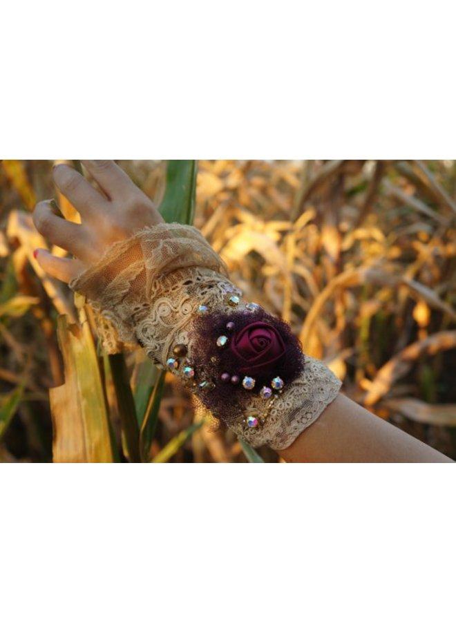 Boho Cuff Bracelet Burgundy Rose