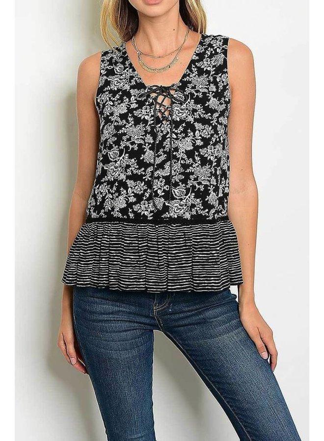 Black Floral Print Sleeveless Blouse
