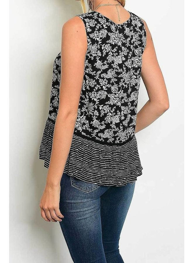Black Floral Print Sleeveless Lace Up Neckline Blouse