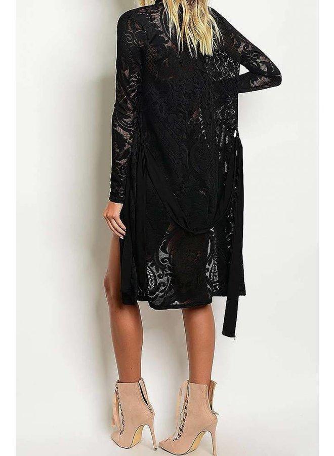 Black Mesh Kimono and Romper