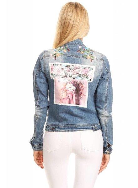 Denim Flower Graphic Jacket