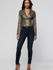Olive Washed Leather Moto Jacket