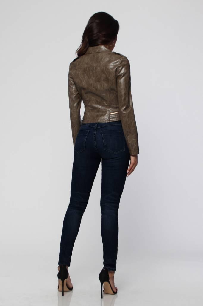 Olive Washed Leather Moto Jacket