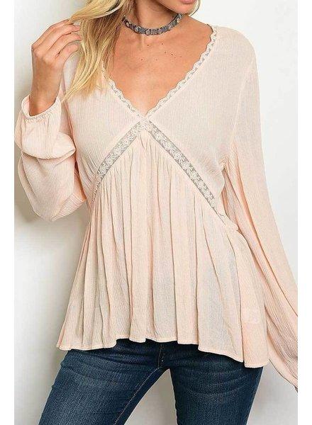 Light Pink Long Sleeve  Lace Trim Blouse