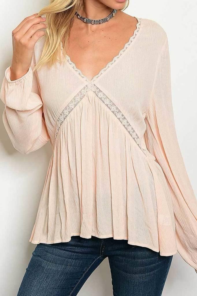 Light Pink Long Sleeve V-Neck Ruched Lace Trim Blouse
